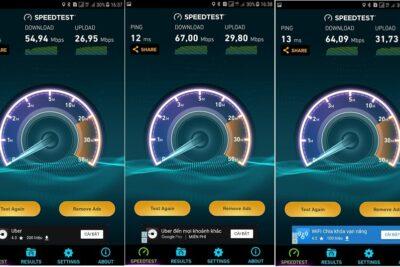 So sánh kiểm tra tốc độ 4G Viettel, Mobi, Vina nhanh bằng Speedtest