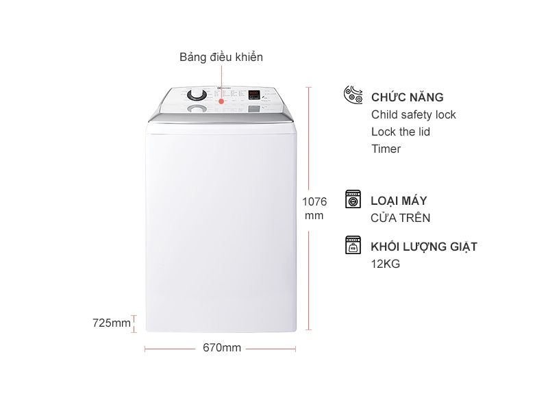 Electrolux EWT1254DCWA trang bị nhiều chương trình giặt hiện đại, tự động