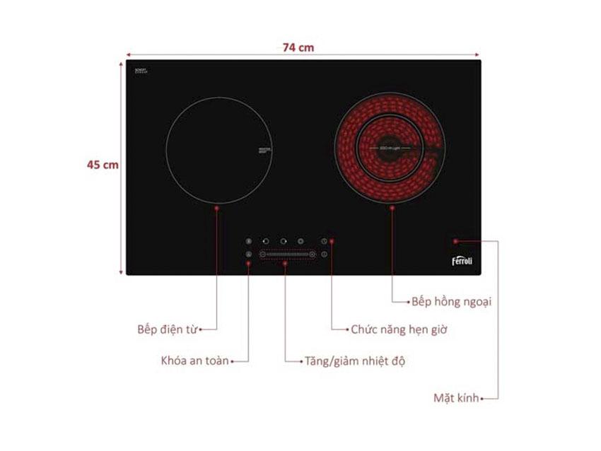 Bếp từ và hồng ngoại Ferroli IC4200BN 4500W