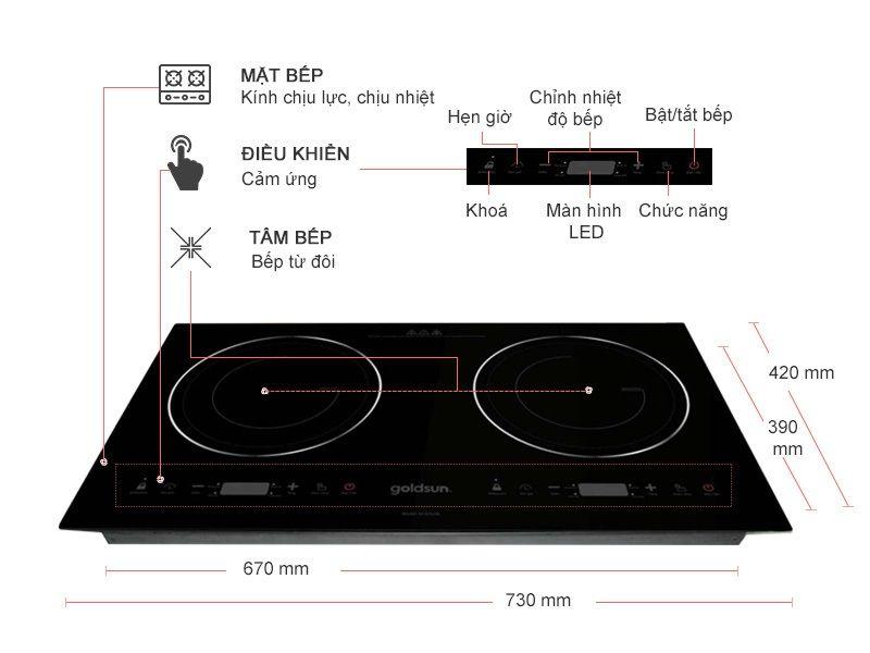 Bếp điện từ đôi Goldsun IH-GYL06