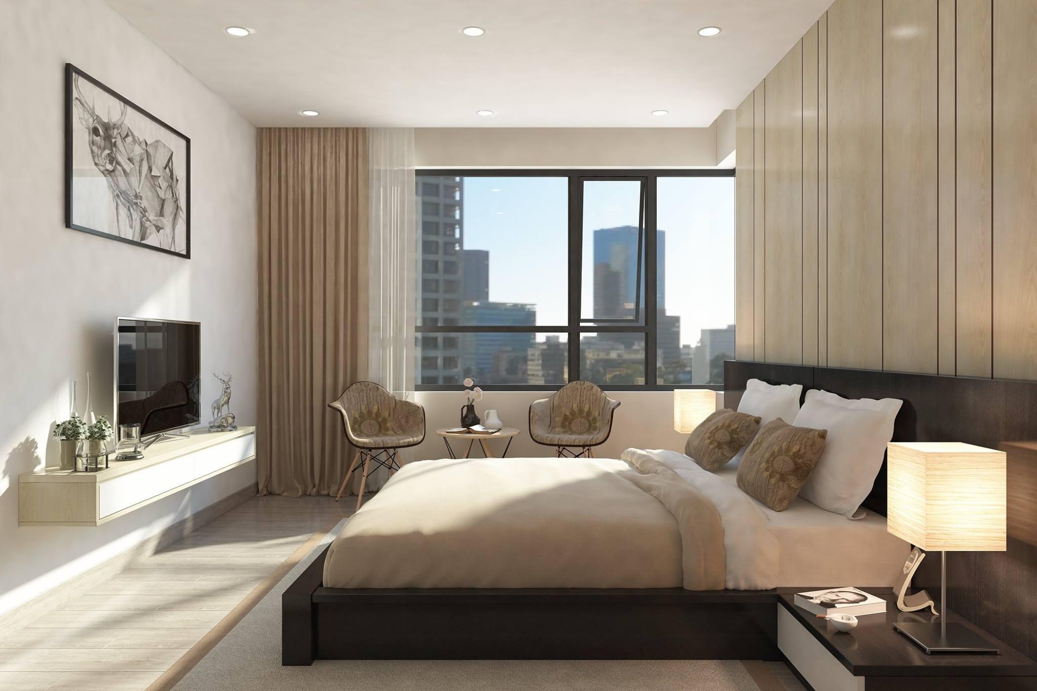Những mẫu nội thất phòng ngủ sử dụng chất liệu gỗ công nghiệp được dùng nhiều trong căn hộ 80m2 với phong cách thiết kế hiện đại