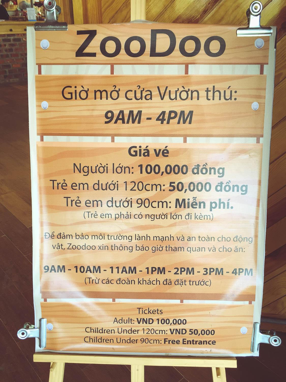 Bảng giá vé sở thú Zoodoo Đà Lạt