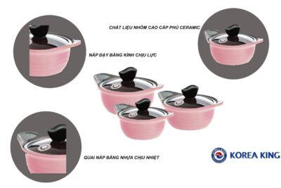 10 bộ nồi Ceramic cho bếp từ chống dính tốt chịu nhiệt cao giá từ 500k