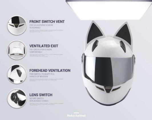 Nón bảo hiểm fullface tai mèo thiết kế trẻ trung cá tính
